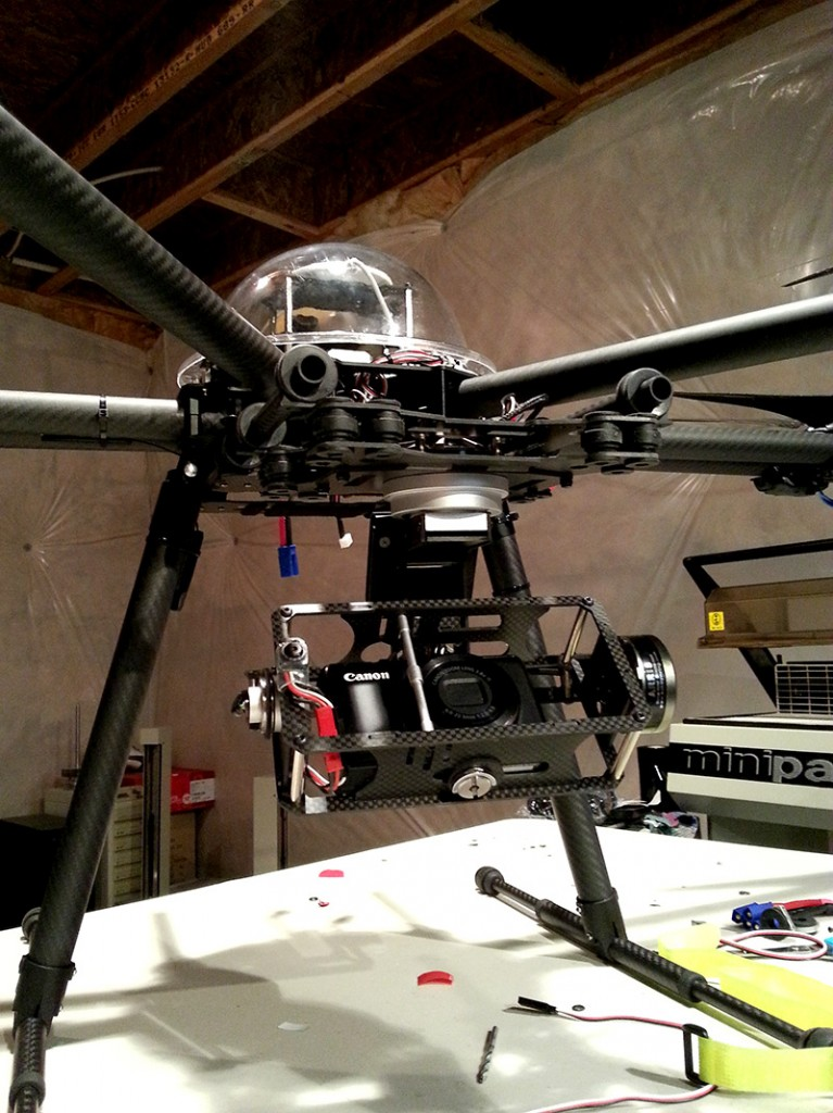 Hexacopter with Arris Zhaoyun 3-axis gimbal installed