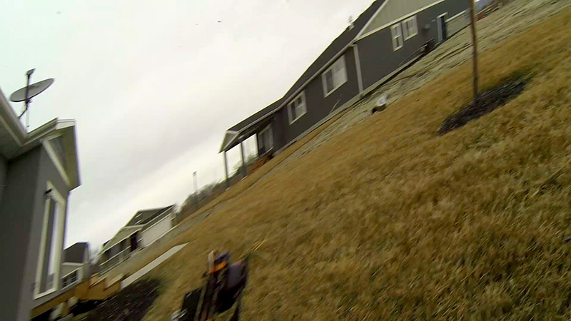 Fat Shark FPV camera flying through the air...